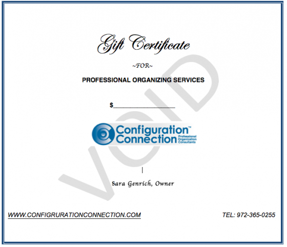 Organizing Service Gift Certificate